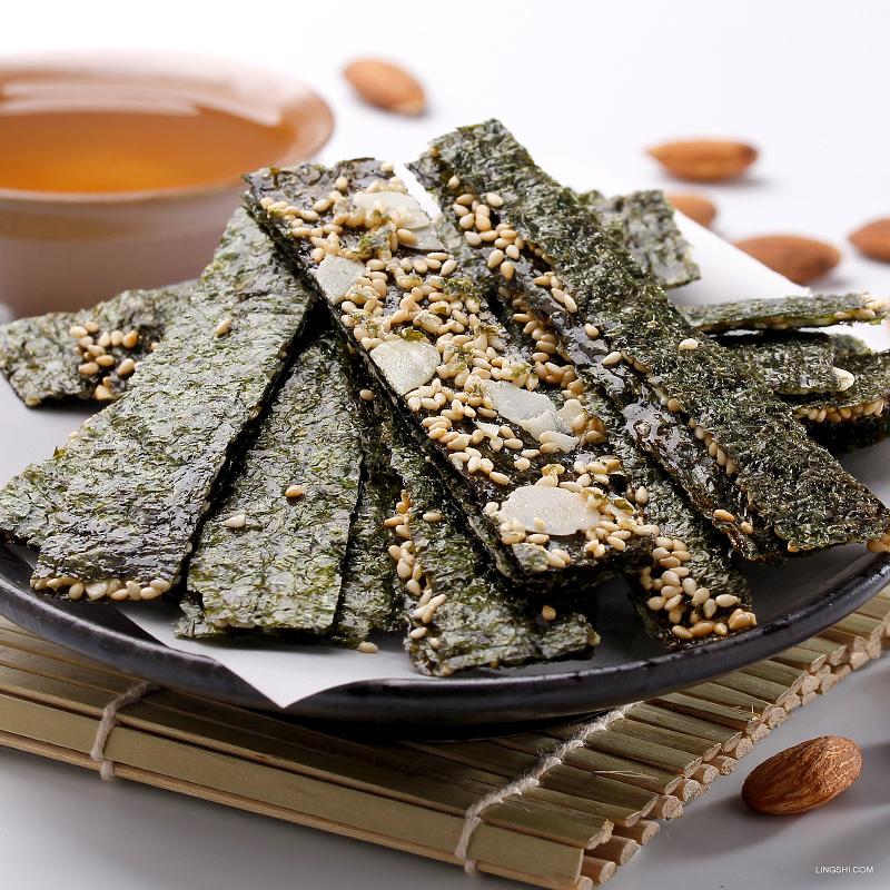 台湾进口弘益杏仁芝麻海苔夹心脆片即食原味紫菜儿童孕妇零食健康